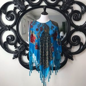 Beautiful teal beaded and velvet peacock poncho.